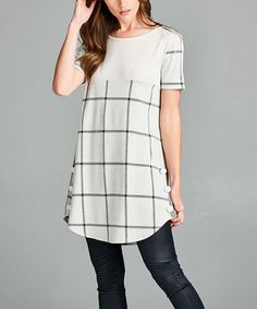 Loving this Black & Ivory Plaid Side-Button Scoop Neck Tunic on #zulily! #zulilyfinds