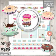 Donut Stickers, Planner Stickers, Printable Planner Stickers, Doughnut Stickers, Kawaii Stickers, Planner Accessories, Coffee Stickers