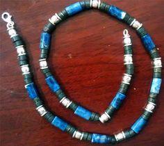 Sodalite and Pyrite Gems Men Necklace  New Custom by LiliyaJewelry