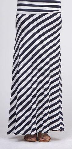I have to make this for summer - Navy & White Diagonal Stripe Maxi Skirt