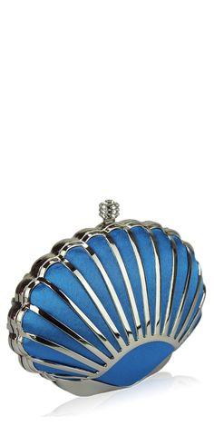 'The Fan' Blue vintage inspired 1930s style art deco shell clutch bag - Vintage Handbags