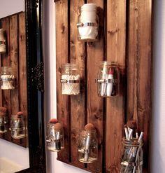 DIY Mason Jar Storage - Mason Jar Bathroom Storage - Click Pic for 44 Easy Organization Ideas for the Home