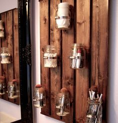 DIY Mason Jar Storage - Mason Jar Bathroom Storage - Click Pic for 44 Easy Organization Ideas for the Home