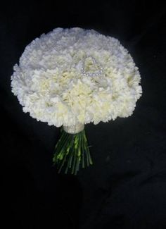 Bridesmaids- White Carnation Bouquet with individual color lace wrapped around the bouquet. Bridesmaid Bouquet White, White Wedding Bouquets, Bride Bouquets, Wedding Flowers, Boquet, Blue Bridesmaids, Gold Wedding, Wedding Ceremony, Dream Wedding