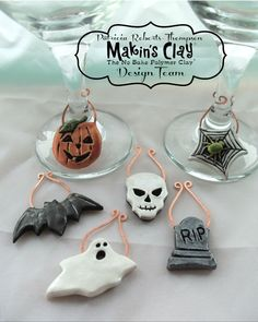 Makin's Clay® Blog: Halloween Wine Glass Charms by Patricia Roberts-Thompson