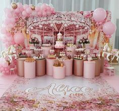 Carousel of Cakes & Candy for any Candy Party. Carousel Birthday Parties, Carousel Party, Birthday Balloons, 1st Birthday Parties, Birthday Party Decorations, Party Themes, Party Ideas, Deco Baby Shower, Baby Girl Shower Themes