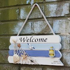 Welcome-Creative-home-Decorative-Hanging-Ornaments-Wood-Sign-Boat-Beach-Handcraf. - beach decore idea's - Welcome-Creative-home-Decorative-Hanging-Ornaments-Wood-Sign-Boat-Beach-Handcrafted-Nautical-Decor- - Seashell Crafts, Beach Crafts, Beach Signs Wooden, Deco Marine, Seaside Theme, Decoration Christmas, Beach House Decor, Home Decor, Beach Houses