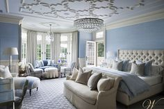 Bedroom - tracery ceiling with beautiful chandelier - floor to ceiling window - soft blue and white - excellent design | Wadia Associates