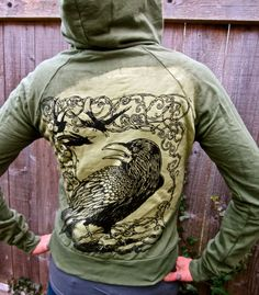 Green Raven Crow Zip Up Hoodie Double Sided Hand by celticfantasy, $70.00