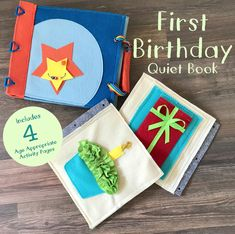 First Birthday Quiet Book for 1 Year Old Boys - Soft Felt Activity Book for Early Childhood Development - Best Birthday Gift for Toddler by TinyFeat on Etsy https://www.etsy.com/uk/listing/541950344/first-birthday-quiet-book-for-1-year-old