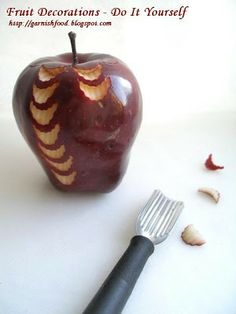 how to carve apple garnish new year style