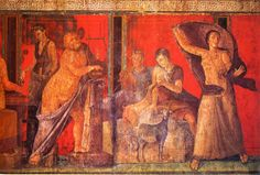 Villa dei Misteri, Pompeii, mid 1st century BC Bright red background, effects of light and shade, the anatomy, the drama. Upper band is marble simulation.