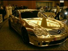 Two Golden Mercedes AMG Cars in Dubai Mall