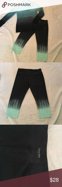 Ombré workout set Great condition black & mint green ombré Size Med Calvin Klein crop yoga leggings & size small misses ombré cowl neck top from Macy's. Selling discounted as a set. NO TRADES Calvin Klein Other