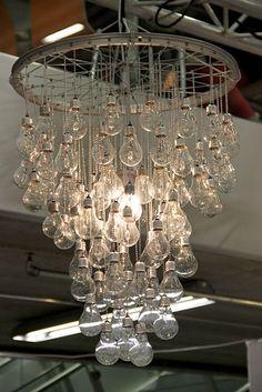 Light bulb and bike rim chandelier