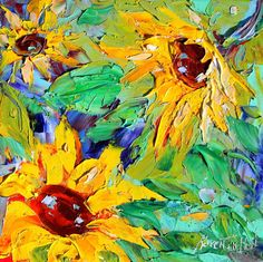 Original oil painting Sunflower flowers on canvas by Karensfineart