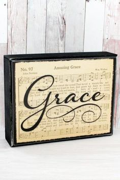 Home & Kitchen Grace Classic Hymn Tabletop Box Sign Sheet Music Crafts, Sheet Music Art, Music Paper, Unique Picture Frames, Picture Frame Crafts, Hymn Art, Wood Crafts, Paper Crafts, Block Craft