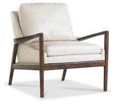 Ebonwood Leather Chair, Ivory