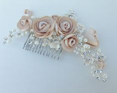 Pearl And Crystal Floral Bridal Hair Comb / Blush Champagne Flower Hair Comb /Pearl Wedding Headpiece / Crystal Bridal Hairpiece Bridal Fascinator, Bridal Headpieces, Fascinators, Satin Flowers, Flowers In Hair, Flower Hair, Wedding Accessories, Hair Accessories, Hair Comb Wedding