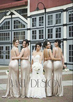 Long CHAMPAGNE Sequin bridesmaid dress, cocktail dress, formal elegant dress, prom dress, mermaid dress, peekaboo back, sexy dress