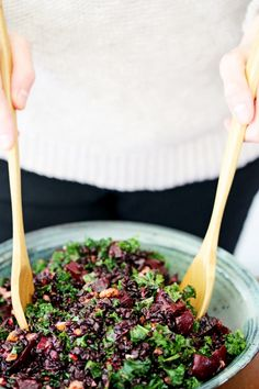 Black Rice, Beet & Kale Salad with Cider Flax Dressing | Yummy Beet