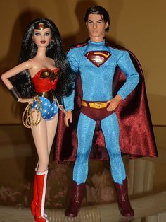 Wonder Woman & Superman Barbie Dolls
