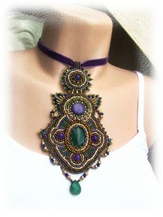 Bead embroidered necklace - gold, lilac, green - OOAK. $120.00, via Etsy.
