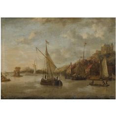 A Dutch harbour scene with sailing vessels and other shipping near the coast, with numerous figures on the Quayside, a view of a castle beyond by Jacobus Storck