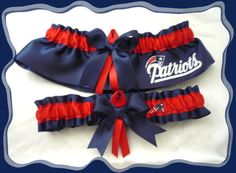 Look no further!! Navy Satin Ribbon Wedding Garter Set Made with New England Patriots Fabric on Etsy, $30.00