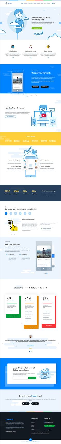 Utouch is clean and modern design responsive #WordPress theme for #startup business and digital #technology company website download now..
