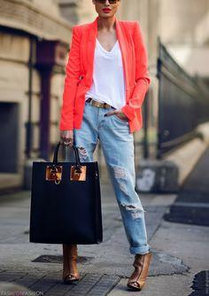 denim with a bright blazer