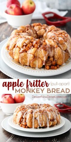 Apple Fritter Monkey Bread Is An Easy And Delicious Pull Apart Bread With Chunks Of Caramelized Apples, Sticky Cinnamon-Sugar, And A Light Glaze. Molded After Your Favorite Donut, This Apple Fritter Bread Makes A Tasty Breakfast Or Dessert. Apple Fritter Recipes, Apple Fritter Bread, Apple Dessert Recipes, Köstliche Desserts, Baked Apple Fritter Donut Recipe, Apple Deserts Easy, Apple Baking Recipes, Tasty Breakfast Recipes, Desserts With Apples