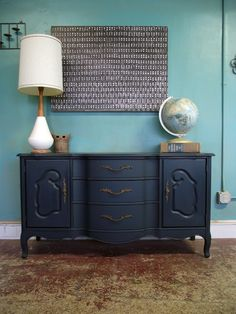 Dark navy french provincial buffet/dresser