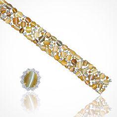 Truly unique and one-of-a-kind! Cat's-Eye Chrysoberyl ring and bracelet surrounded by diamonds via @oscarheyman.  #purplebyanki #diamonds #luxury #loveit #jewelry #jewelrygram #jewelrydesigner #love #jewelrydesign #finejewelry #luxurylifestyle #instagood #follow #instadaily #lovely #me #beautiful #loveofmylife #dubai #dubaifashion #dubailife #mydubai #bracelet #ring #oscarheyman #catseye #oneofakind
