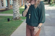 Emerald green chiffon and brown cord pants. Perfect for fall!