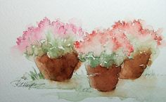 Watercolor Painting of Pink Flowers in Flower Pots