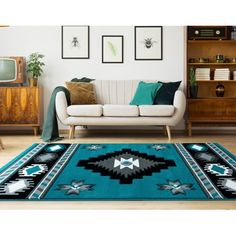 United Weavers Drachma Volos Southwestern Turquoise Woven Olefin/Polypropylene Area Rug or Runner, Multicolor Modern Southwest Decor, Southwestern Decorating, Southwestern Style Decor, Living Spaces, Living Room, Online Home Decor Stores, Runes, Colorful Rugs, Entryway Decor