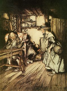 """Illustrated by Arthur Rackham for the stories by the brothers Grimm, this one is from a story called """"The hut in the forest""""."""