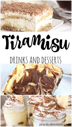 50+ Tiramisu Drinks and Desserts - You will want to bookmark this delicious list to return to again and again. Drinks, Coffee, martinis, cookies, cupcakes, cakes, parfaits, truffles...Everything Tiramisu.