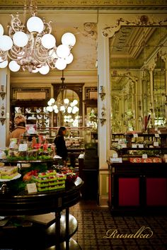 This is a photo of the interior of the Cafe Demel in Vienna, Austria.