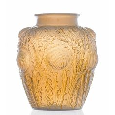 A RENE LALIQUE 'DOMREMAY' CASED OPALESCENT GLASS VASE, FRENCH, CIRCA 1930 the body moulded in high relief  with stylized thistles engraved signature, 21.5cm high