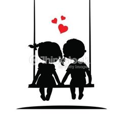 Arte vectorial : Silhouettes of a boy and girl Couple Silhouette, Girl Silhouette, Wedding Silhouette, Stencil Painting, Stenciling, Silhouette Cameo Projects, Stone Painting, Doodle Art, Cat Art