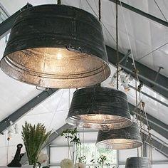 galvanised tub drum as lighting chandelier