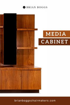 "Our media cabinet showcases a waterfall of perfectly matched, bandsawn walnut flowing top to bottom. Two speaker cabinets frame enough space for a 75"" TV screen while housing four units of a seven-speaker sound system. Speaker cloth dresses up the fronts of these towers and lets the sound escape freely. #cabinet #BrianBoggs #woodtable #furniture #craftsman"