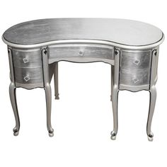 Silver Leaf French Style Kidney Shape Vanity Desk
