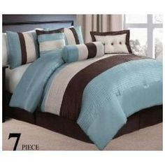 7 pc modern blue/ beige/ brown / bed in a bag / comforter set /queen size bedding By Plush C Collection