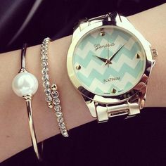 Get the look with our Chevron Romance Watch in Mint! www.psiloveyoumoreboutique.com