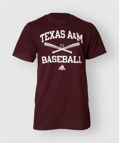 """This basic maroon shirt from Adidas reads """"Texas A&M Baseball"""" on the front with crossed bats and a ball."""