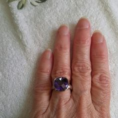 Amethyst Size 6 Set in Sterling Silver Beautiful square Amethyst gemstone set in stamped 925 Sterling Silver band. Jewelry Rings