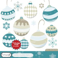 26 christmas ornaments in featuring 2 color schemes (see gallery), great for christmas cards, invitations, projects, scrapbooking, present tags and more